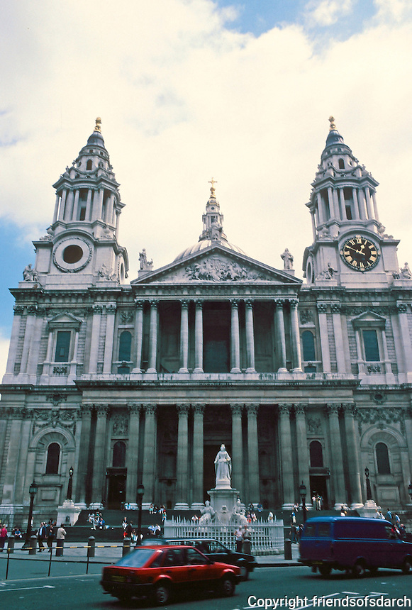 Sir Christopher Wren: St. Paul's Cathedral, elevation. 1675-1711. Photo '87.