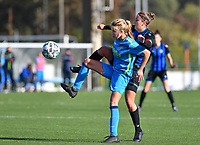 Union's Charlotte Guns pictured in a duel with Brugge's Ellen Martens during a female soccer game between the women teams of Club Brugge YLA Dames and Union Saint-Ghislain Tertre-Hautrage Ladies on the 1/16 th qualifying round for the Belgian Womens Cup 2020  2021 , on saturday 26 th of September 2020  in Brugge , Belgium . PHOTO SPORTPIX.BE | SPP | DAVID CATRY