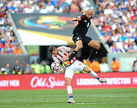 Philadelphia, PA. -June 11, 2016: USA defender John Brooks (6) and Paraguay forward Antonio Sanabria (9) during Copa America Centenario Group A match between United States (USA) and Paraguay (PAR) at Lincoln Financial Field.
