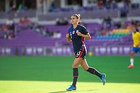 ORLANDO CITY, FL - FEBRUARY 21: Alex Morgan #13 of the USWNT runs toward the ball during a game between Brazil and USWNT at Exploria Stadium on February 21, 2021 in Orlando City, Florida.