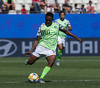 GRENOBLE, FRANCE - JUNE 12: Chidinma Okeke #20 of the Nigerian National Team passes the ball during a game between Korea Republic and Nigeria at Stade des Alpes on June 12, 2019 in Grenoble, France.