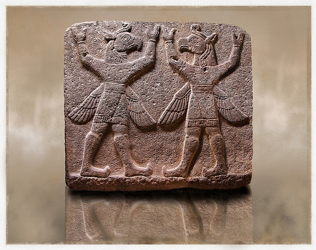 "Picture of Neo-Hittite orthostat describing the legend of Gilgamesh from Karkamis,, Turkey. Museum of Anatolian Civilisations, Ankara. Symetrical mythological Scene depicting ""Winged Griffin Demons"", half men with birds heads & wings. Their hands are raised above their heads supposidly carrying the sky. 5"