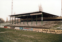 Covered terracing at Northwich Victoria Football Club, The Drill Field, Northwich, Cheshire, pictured on 23rd January 1988