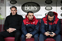 Swansea City Player-Assistant manager Leon Britton sits on the bench prior to the Premier League match between Burnley and Swansea City at Turf Moor, Burnley, England, UK. Saturday 18 November 2017