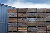 14-4-2021 Potato boxes stacked in a farmyard<br /> ©Tim Scrivener Photographer 07850 303986<br />      ....Covering Agriculture In The UK....