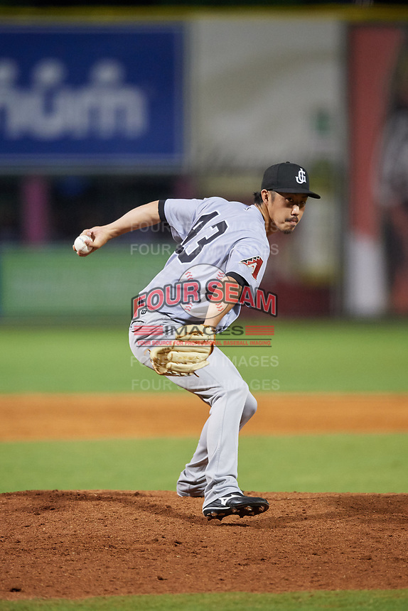 Jackson Generals relief pitcher Yuhei Nakaushiro (43) delivers a pitch during a game against the Chattanooga Lookouts on May 9, 2018 at AT&T Field in Chattanooga, Tennessee.  Chattanooga defeated Jackson 4-2.  (Mike Janes/Four Seam Images)