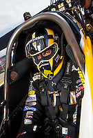 Aug 31, 2014; Clermont, IN, USA; NHRA  top fuel driver Tony Schumacher during qualifying for the US Nationals at Lucas Oil Raceway. Mandatory Credit: Mark J. Rebilas-USA TODAY Sports