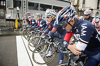 The IAM Cycling Team came to the front to take one minute of silence before the start to commemorate their teammate Christophe Goddaert (BEL) who died during training the week before<br /> <br /> Omloop Het Nieuwsblad 2014