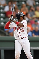 Catcher Roldani Baldwin (16) of the Greenville Drive bats in a game against the Charleston RiverDogs on Thursday, July 27, 2017, at Fluor Field at the West End in Greenville, South Carolina. Charleston won, 5-2. (Tom Priddy/Four Seam Images)