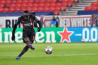 16th February 2021, Puskas Arena, Budapest, Hungary; Champions League football, FC Leipig versus Liverpool FC;  Liverpool's Sadio Mane shooting and scoring his 0:2 goal.