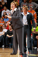CHARLOTTESVILLE, VA- NOVEMBER 20: Head coach Pat Summitt of the Tennessee Lady Volunteers coaches from the bench during the game on November 20, 2011 against the Virginia Cavaliers at the John Paul Jones Arena in Charlottesville, Virginia. Virginia defeated Tennessee in overtime 69-64. (Photo by Andrew Shurtleff/Getty Images) *** Local Caption *** Pat Summitt