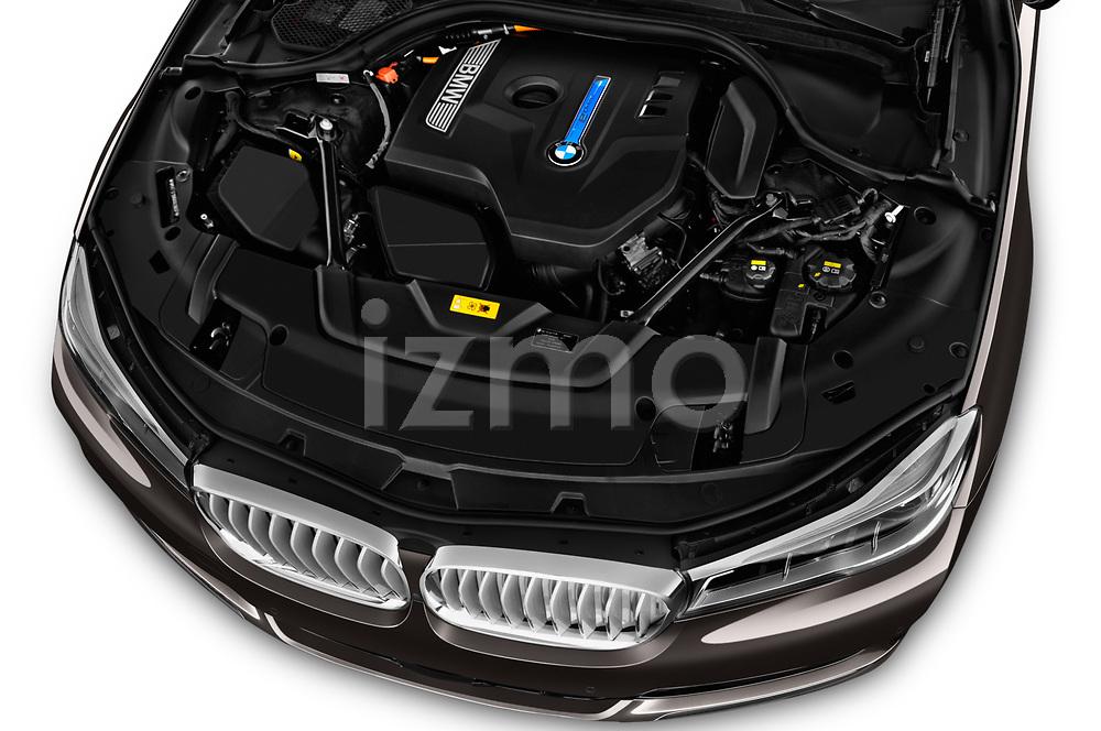 Car Stock 2018 BMW 7-Series-Plug-In-Hybrid 740Le-iPerformance 4 Door Sedan Engine  high angle detail view