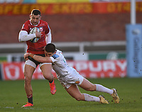 26th March 2021; Kingsholm Stadium, Gloucester, Gloucestershire, England; English Premiership Rugby, Gloucester versus Exeter Chiefs; Dan John of Exeter Chiefs tackles Jonny May of Gloucester
