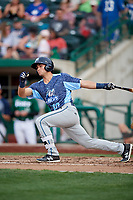 West Michigan Whitecaps left fielder Garrett McCain (10) follows through on a swing during a game against the Fort Wayne TinCaps on May 17, 2018 at Parkview Field in Fort Wayne, Indiana.  Fort Wayne defeated West Michigan 7-3.  (Mike Janes/Four Seam Images)