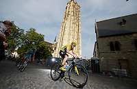 Chris Froome (GBR/SKY) riding in front of the St- Rumbold's Cathedral (Sint-Romboutskathedraal)<br /> <br /> Post-Tour Criterium Mechelen 2015
