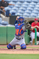 St. Lucie Mets catcher Matt O'Neill (5) throws down to first base in between innings during a game against the Clearwater Threshers on July 1, 2021 at BayCare Ballpark in Clearwater, Florida.  (Mike Janes/Four Seam Images)