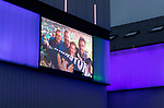 The city of Perth shows it's support for St Johnstone ahead of Saturdays Scottish Cup Final against Hibs at Hampden... 20.05.21<br />Perth theatre is pictured lit up blue and white and displaying St Johnstone fan photos from the 2014 Scottish Cup Final, this one showing fans pictured with actor and fellow saints fan Colin McCredie.<br />Picture by Graeme Hart.<br />Copyright Perthshire Picture Agency<br />Tel: 01738 623350  Mobile: 07990 594431