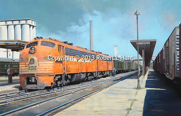 """On a hot summer day in 1966, the Frisco Railroad's """"Comanche"""" passenger train prepares to pull out of Springfield, Missouri. Oil on canvas, 18""""x28""""."""