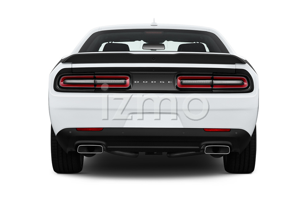 Straight rear view of 2016 Dodge Challenger Scat-Pack 2 Door Coupe Rear View  stock images