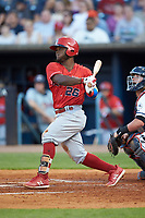 Dilson Herrera (26) of the Louisville Bats follows through on his swing against the Toledo Mud Hens at Fifth Third Field on June 16, 2018 in Toledo, Ohio. The Mud Hens defeated the Bats 7-4.  (Brian Westerholt/Four Seam Images)