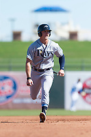 Peoria Javelinas designated hitter Joe McCarthy (21), of the Tampa Bay Rays organization, runs to third base during an Arizona Fall League game against the Surprise Saguaros at Surprise Stadium on October 17, 2018 in Surprise, Arizona. (Zachary Lucy/Four Seam Images)