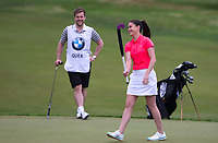 Sam Quek MBE (GBR Hockey) with a hockey stick during the BMW PGA PRO-AM GOLF at Wentworth Drive, Virginia Water, England on 23 May 2018. Photo by Andy Rowland.
