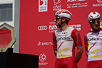 Elia and brother Attilio Viviani (ITA) Cofidis at sign on before the start of Stage 6 of the 2021 UAE Tour running 165km from Deira Island to Palm Jumeirah, Dubai, UAE. 26th February 2021.  <br /> Picture: Eoin Clarke   Cyclefile<br /> <br /> All photos usage must carry mandatory copyright credit (© Cyclefile   Eoin Clarke)