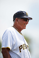 GCL Pirates coach Woody Huyke (48) during a game against the GCL Yankees East on August 15, 2016 at the Pirate City in Bradenton, Florida.  GCL Pirates defeated GCL Yankees East 5-2.  (Mike Janes/Four Seam Images)