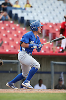 Matt Beaty (5) of the Rancho Cucamonga Quakes bats against the High Desert Mavericks at Heritage Field on May 8, 2016 in Adelanto, California. Rancho Cucamonga defeated High Desert, 11-5. (Larry Goren/Four Seam Images)