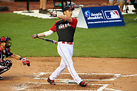 High school prospect Andrew Yerzy during the MLB Home Run Derby on July 13, 2015 at Great American Ball Park in Cincinnati, Ohio.  (Mike Janes/Four Seam Images)