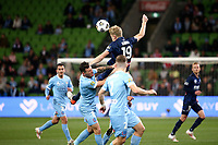 22nd May 2021, Melbourne, Australia;  Matt Simon of the Central Coast Mariners climbs to win the ball during the Hyundai A-League football match between Melbourne City FC and Central Coast Mariners at AAMI Park in Melbourne, Australia.