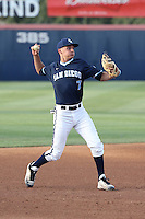 Jeff Houghtby (7) of the University of San Diego Toreros makes a throw during a game against the Cal State Fullerton Titans at Goodwin Field on April 5, 2016 in Fullerton, California. Cal State Fullerton defeated University of San Diego, 4-2. (Larry Goren/Four Seam Images)