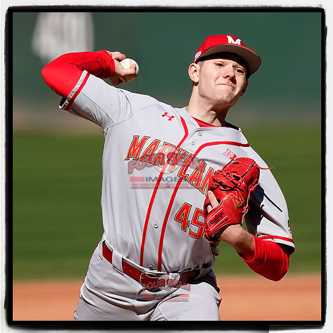 Freshman RHP Jason Savacool (45) of the Maryland Terrapins, appearing in his debut college game, pitched a complete-game 3-2 win against the Michigan State Spartans on Sunday, March 7, 2021, at Fluor Field at the West End in Greenville, South Carolina. (Tom Priddy/Four Seam Images)