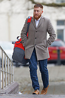 "Pictured: Kyle Lewis arrives at Swansea Crown Court. Monday 15 April 2019<br /> Re: Four ""Money-motivated"" cold callers who pressurised elderly people into buying boilers that never arrived - and mocked them as they waited on the line, are due to be sentenced today at Swansea Crown Court, Wales, UK.<br /> The company's three directors and a compliance manager are awaiting sentence for conspiracy to defraud.<br /> Kyle Lewis, Darren Palmer and David Alford, along with Jason Cunliff, dubbed the Wolves of Wind Street, were all found guilty of conspiracy to defraud after a trial at Swansea Crown Court, which followed a four-year investigation."