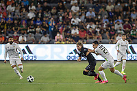 LOS ANGELES, CA - AUGUST 25: Cade Cowell #44 of the MLS All Stars and Salvador Reyes #26 of the Liga MX All Stars during a game between Liga MX All Stars and MLS All Stars at Banc of California Stadium on August 25, 2021 in Los Angeles, California.
