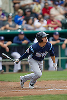 Corpus Christi Hooks outfielder Leo Heras (8) follows through on his swing during the Texas League baseball game against the San Antonio Missions on May 10, 2015 at Nelson Wolff Stadium in San Antonio, Texas. The Missions defeated the Hooks 6-5. (Andrew Woolley/Four Seam Images)