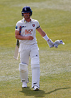 Frustration for Joe Denly of Kent after being dismissed by Jordan Thompson during Kent CCC vs Yorkshire CCC, LV Insurance County Championship Group 3 Cricket at The Spitfire Ground on 18th April 2021