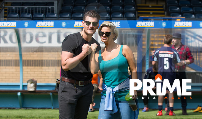 Matt Lapinskas & Kerry Katona during the Sellebrity Soccer match for Wycombe Sports & Education Trust at Wycombe Wanderers, Adams Park, High Wycombe, England on 28 May 2018. Photo by Andy Rowland.