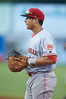 Greeneville Reds first baseman Raul Juarez (39) on defense against the Pulaski Yankees at Calfee Park on June 23, 2018 in Pulaski, Virginia. The Reds defeated the Yankees 6-5.  (Brian Westerholt/Four Seam Images)