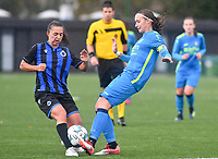 Brugge's Jody Vangheluwe pictured  in a duel with Union's Maelis Henneuse during a female soccer game between the women teams of Club Brugge YLA Dames and Union Saint-Ghislain Tertre-Hautrage Ladies on the 1/16 th qualifying round for the Belgian Womens Cup 2020  2021 , on saturday 26 th of September 2020  in Brugge , Belgium . PHOTO SPORTPIX.BE | SPP | DAVID CATRY