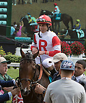 LOUISVILLE, KY - MAY 07: Camelot Kitten #9, ridden by Irad Ortiz Jr., is led to the winners' circle after winning the American Turf is led to the winners' circle after winning the Churchill Downs. (Photo by Sue Kawczynski/Eclipse Sportswire/Getty Images)
