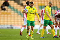 13th February 2021; Carrow Road, Norwich, Norfolk, England, English Football League Championship Football, Norwich versus Stoke City; Emi Buendia of Norwich City claims the ball to take the penalty before giving it to Teemu Pukki