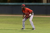 AZL Angels right fielder Trent Deveaux (17) during an Arizona League game against the AZL Dodgers at Camelback Ranch on July 8, 2018 in Glendale, Arizona. The AZL Dodgers defeated the AZL Angels by a score of 5-3. (Zachary Lucy/Four Seam Images)