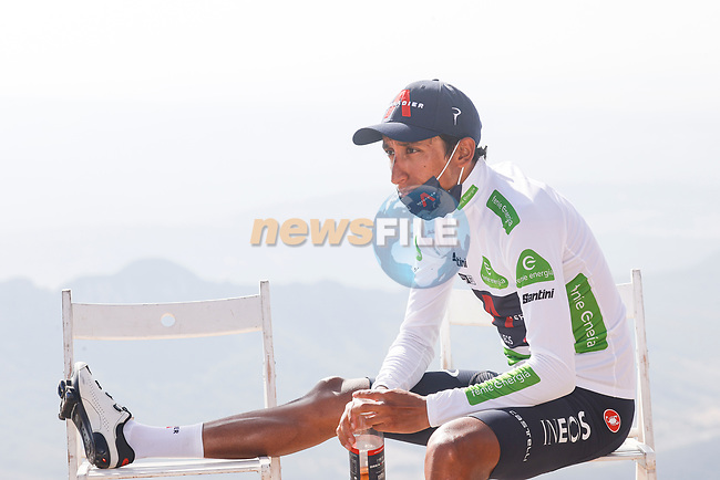 White Jersey Egan Bernal (COL) Ineos Grenadiers chills at the end of Stage 14 of La Vuelta d'Espana 2021, running 165.7km from Don Benito to Pico Villuercas, Spain. 28th August 2021.     <br /> Picture: Luis Angel Gomez/Photogomezsport | Cyclefile<br /> <br /> All photos usage must carry mandatory copyright credit (© Cyclefile | Luis Angel Gomez/Photogomezsport)