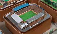 BNPS.co.uk (01202 558833)<br /> Pic: Zachary Culpin/BNPS<br /> <br /> Pictured: Portsmouth FC's Fratton Park is still standing today<br /> <br /> An incredible collection of model football stadiums handmade by a soccer fan have sold for almost £19,000 after being found in a storage unit.<br /> <br /> Model-maker John Le Maitre created miniature versions of all 92 English Football League club grounds from the 1980s, as well as the old Wembley Stadium.<br /> <br /> They featured on a Blue Peter episode that year and are a throwback to a bygone age when football grounds with their banks of terraces looked very different to today's super stadiums.