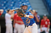Cole Russo (22) of Tampa Jesuit High School in Tampa, FL during the Perfect Game National Showcase at Hoover Metropolitan Stadium on June 19, 2020 in Hoover, Alabama. (Mike Janes/Four Seam Images)