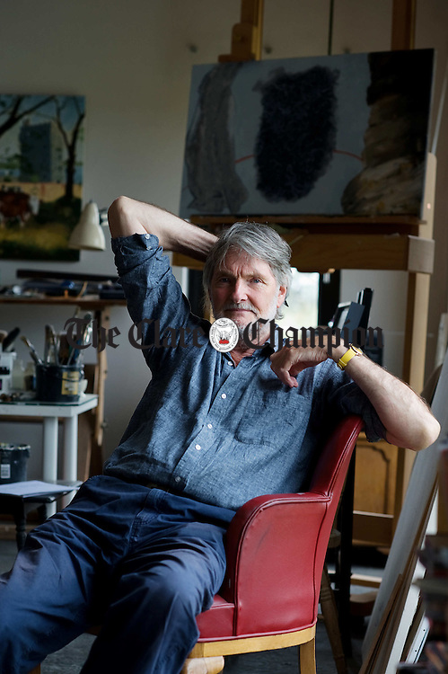 Artist Terence O Connor in his home studio at Rehy, Carrigaholt. Photograph by John Kelly.