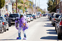 The Wild Man of the Monogram Hunters, in the Treme neighborhood of New Orleans on Mardi Gras day, February 16, 2010.