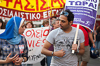 Anti fascist march in Athens 8-6-12 A demonstration called against recent electoral gains by the neo nazi Golden Dawn party in Greece. Thousands of people marched through Athens on the demonstration called by Keerfa and the Immigrant Workers Union.