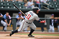Center fielder Randy Ventura (11) of the Rome Braves bats in a game against the Columbia Fireflies on Monday, July 3, 2017, at Spirit Communications Park in Columbia, South Carolina. Columbia won, 1-0. (Tom Priddy/Four Seam Images)